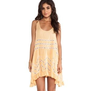 Free People Voile & Lace Trapeze Dress Tangerine